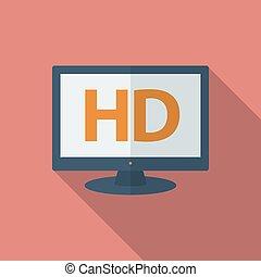 Icon of HD TV. Flat style