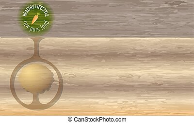 Icon of healthy lifestyle and wooden background