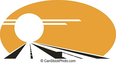 Icon of highway with golden sunset sky