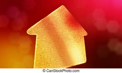 icon of house. Background made of glow particles as vitrtual hologram. 3D seamless animation with depth of field, bokeh and copy space. Red version 3