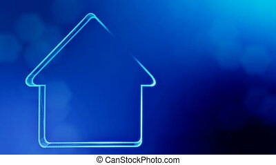icon of house. Background made of glow particles as vitrtual hologram. 3D seamless animation with depth of field, bokeh and copy space.. Blue color v2