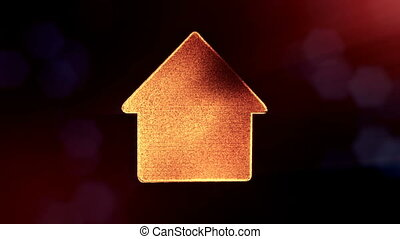 icon of house. Background made of glow particles as vitrtual...