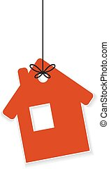 Icon of house hanging on a rope