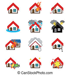 Icon of house - home and house insurance and risk icons