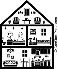 Icon of house with planning  in black and white.