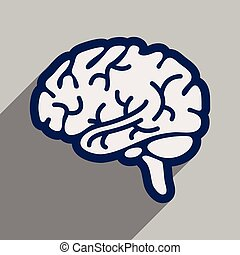 Icon of human brain in flat style