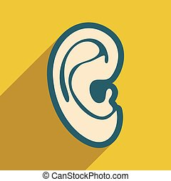 Icon of human ear in flat style