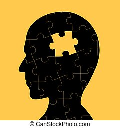 Icon of human head with piece of puzzle inside. Logo of...