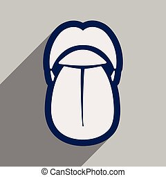 Icon of human tongue in flat style