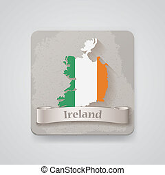 Icon of Ireland map with flag. Vector illustration