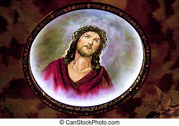 Icon of Jesus Christ with crown of thorns, fresco in Coptic...