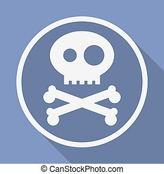 Icon of Jolly Roger symbol. Pirate, filibuster, corsair sign of crossed bones or crossbones and skull. Vector emblem