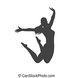 icon of jumping girl, vector illustration