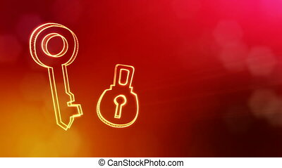 icon of key and lock. Background made of glow particles as vitrtual hologram. 3D seamless animation with depth of field, bokeh and copy space. Red version 3.