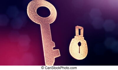 icon of key and lock. Background made of glow particles as vitrtual hologram. 3D seamless animation with depth of field, bokeh and copy space. VIolet 6