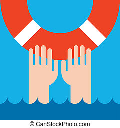 life buoy and hands - icon of life buoy and hands in water