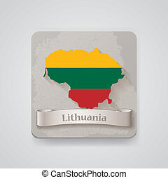 Icon of Lithuania map with flag. Vector illustration, EPS10