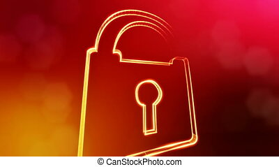 icon of lock. Background made of glow particles as vitrtual...