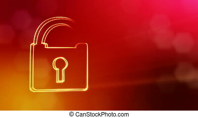 icon of lock. Background made of glow particles as vitrtual hologram.. 3D seamless animation with depth of field, bokeh and copy space. Red version 3