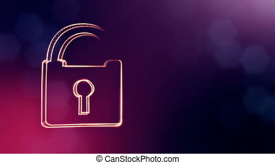 icon of lock. Background made of glow particles as vitrtual hologram.. 3D seamless animation with depth of field, bokeh and copy space. Violet color V2