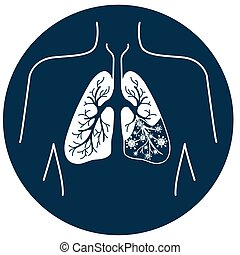 icon of lung disease black