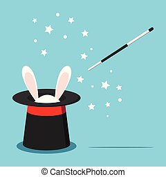 Icon of magic black hat with white rabbit bunny ears and magic wand with stars isolated on blue background. Vector illustration in flat cartoon style.