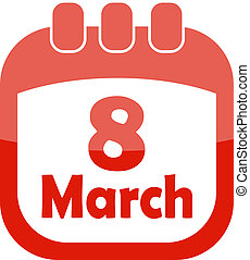 icon of March 8 in a calendar