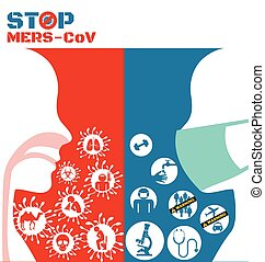 Icon of Mers virus and respiratory pathogens of human
