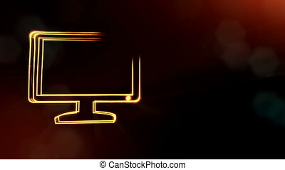 icon of monitor. Background made of glow particles as vitrtual hologram. 3D seamless animation with depth of field, bokeh and copy space. Dark version 6