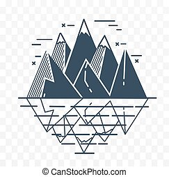 Icon of mountains in a linear