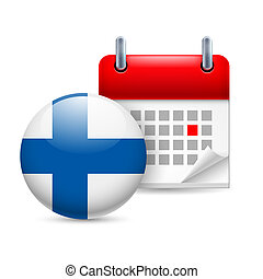 Icon of National Day in Finland - Calendar and round Finnish...