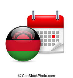 Icon of National Day in Malawi - Calendar and round Malawian...