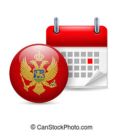 Icon of National Day in Montenegro - Calendar and round...