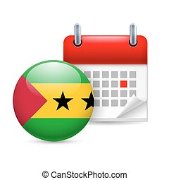 Icon of National Day in Sao Tome and Principe - Calendar and...