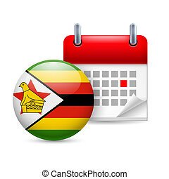 Icon of National Day in Zimbabwe - Calendar and round ...