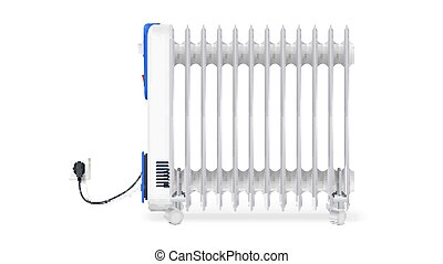 Icon of oil radiator isolated on horizontal white background. White, electric oil filled heater. Vector, resizable symbol of convector