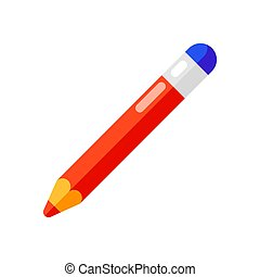 Icon of pencil with eraser in flat style.