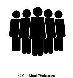Icon of people crowd icon black on white background.