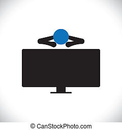 icon of person or man watching tv programs on an large lcd television. The vector graphic also man's indulgent habits, person relaxing, seeing news, etc