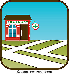 Icon of pharmacy with street map. vector, gradient