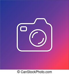 Icon of photocamera. Simple camera icon on colorful background. Editable Stroke.