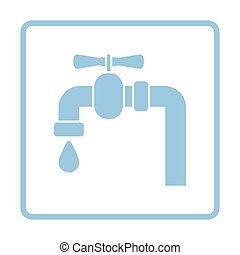 Icon of pipe with valve. Blue frame design. Vector...