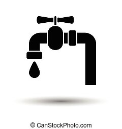 Icon of pipe with valve. White background with shadow...