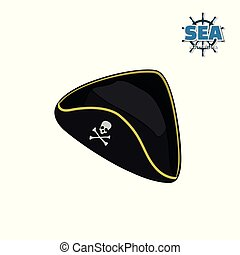 Icon of pirate hat in isometric style on white background....