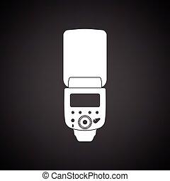 Icon of portable photo flash. Black background with white. ...