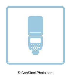 Icon of portable photo flash. Blue frame design. Vector ...