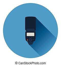 Icon of portable photo flash. Flat color design. Vector ...