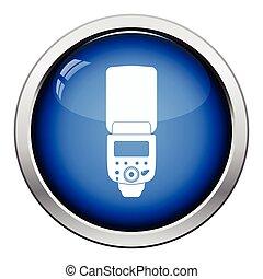 Icon of portable photo flash. Glossy button design. Vector ...
