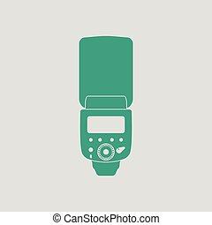 Icon of portable photo flash. Gray background with green. ...