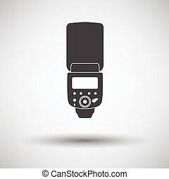 Icon of portable photo flash on gray background, round ...